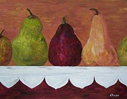 Kitchen Framed Prints - Pear Parade - Pears on an Antique Cloth  Framed Print by Eloise Schneider