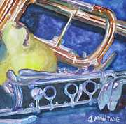 Trumpet Paintings - Pear Roadie by Jenny Armitage