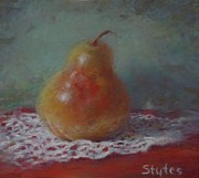 Food And Beverage Pastels - Pear Still Life by Nancy Stutes