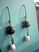 Black Jewelry Metal Prints - Pearl and Glass Earrings Metal Print by Beth Sebring