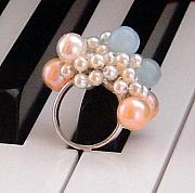 Band Jewelry Originals - Pearl Aquamarine Cha Cha Ring by Robin Copper