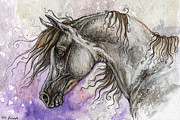 Horses Drawings - Pearl arabian horse by Angel  Tarantella