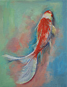 Japanese Koi Prints - Pearl Banded Koi Print by Michael Creese