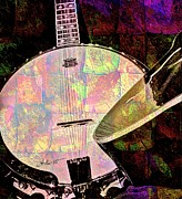 Pearl Digital Banjo And Guitar Art By Steven Langston Print by Steven Lebron Langston