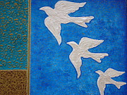 Birds In Flight At Night Prints - Pearl Doves textured mixed media painting Print by Jennifer Vazquez