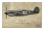Hawk Art Prints - Pearl Harbor P-40 Warhawk - Map Background Print by Craig Tinder