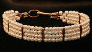 Wire Wrap Jewelry Art - Pearl seed bead bracelet by Alicia Short