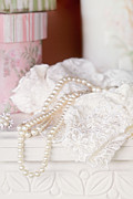 Negligee Metal Prints - Pearls and Lacy Lingerie Metal Print by Stephanie Frey