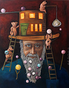 Old Man Fishing Prints - Pearls For Swine edit 2 Print by Leah Saulnier The Painting Maniac