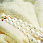 Gold Necklace Prints - Pearls On White Velvet Print by Theresa Tahara