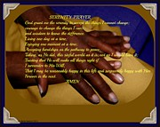Praying Hands Prints - Pearls Serenity Prayer Print by Sherry Gombert
