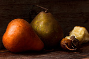 Orange Art Photo Framed Prints - Pears And A Core Framed Print by Constance Fein Harding