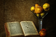 Tangerines Prints - Pears and an old book Print by Dick Wood