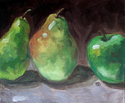Pear Art Framed Prints - Pears and Apple Framed Print by Samantha Black
