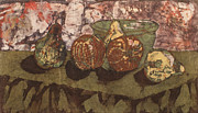 Food And Beverage Tapestries - Textiles Metal Prints - Pears and Apples Batik I Metal Print by John and Lisa Strazza