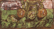 Food And Beverage Tapestries - Textiles - Pears and Apples Batik II by John and Lisa Strazza