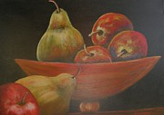 Wooden Bowl Prints - Pears and Apples Print by Kalyn Davis