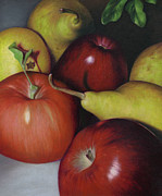 Harvest Time Drawings Prints - Pears and Apples Print by Natasha Denger