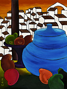Fruits Paintings - Pears And Blue Pot by William Cain