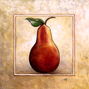 Fruit And Wine Paintings - Pears Diptych One by Linda Mears
