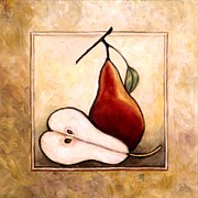 Fruit And Wine Paintings - Pears Diptych Two by Linda Mears