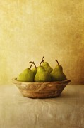 Green Bowl Framed Prints - Pears In A Wooden Bowl Framed Print by Priska Wettstein