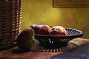 Food And Beverage Photo Originals - Pears In Morning Light by Lawrence Costales