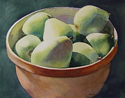 Terra Paintings - Pears in Terra Cotta by Sarah Buell  Dowling