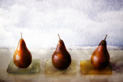 Golden Brown Framed Prints - Pears in the Clouds Framed Print by Carol Leigh