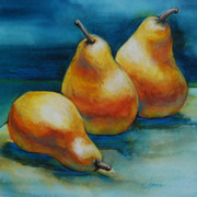 Pear Art Mixed Media Posters - Pears Of Three Poster by Jani Freimann