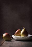 Dark Background Framed Prints - Pears On Plates Framed Print by Christopher and Amanda Elwell