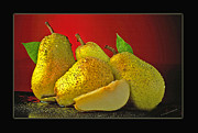 Table Top Framed Prints - Pears on Red Background Framed Print by Ed Hoppe