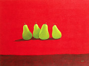Lined Up Framed Prints - Pears on Red Cloth Framed Print by Lincoln Seligman