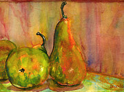 Kitchen Watercolor Paintings - Pears Still Life Art  by Blenda Studio