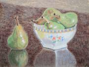 Detailed Pastels Framed Prints - Pears Still Life Framed Print by Yvonne Johnstone