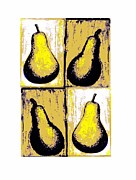 Stylized Beverage Mixed Media Posters - Pears- Warhol Style Poster by Christine Fanous