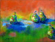 Abstracted Paintings - Pears x 4 by Donna Randall