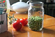 Local Food Metal Prints - Peas and Tomatoes Metal Print by Megan Campbell