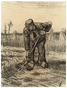 Farmer Drawings - Peasant Digging Up Potatoes by Vincent Van Gogh