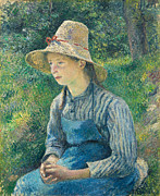 Clasped Framed Prints - Peasant Girl with a Straw Hat Framed Print by Camille Pissarro