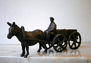 Donkey Sculpture Prints - Peasant with cart Print by Nikola Litchkov