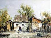Romania Paintings - Peasant Yard by Petrica Sincu