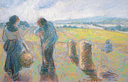 Field Pastels Prints - Peasants in the fields Print by Camille Pissarro