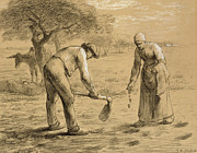 Landscape Drawings Framed Prints - Peasants planting potatoes  Framed Print by Jean-Francois Millet