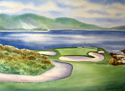 Golf Holes Posters - Pebble Beach #7 Poster by Deborah Ronglien