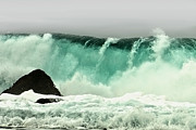 Famous Photographers Posters - Pebble Beach Crashing Wave Poster by Author and Photographer Laura Wrede