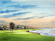 Us Open Painting Framed Prints - Pebble Beach Golf Course 18Th Hole Framed Print by Bill Holkham