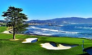 Cypress Posters - Pebble Beach Golf Course 18th Hole Poster by Robert Sebolt
