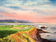 Tiger Woods Paintings - Pebble Beach Golf course Hole 7 by Bill Holkham