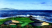 Beautiful Beach Paintings - Pebble Beach Golf Course by John YATO